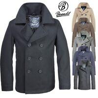 BRANDIT PEA COAT Marine Woll Mantel Herren Winter Jacke Coat Caban Kurzmantel