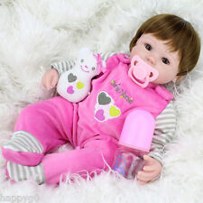 "16""-New-Handmade-Newborn-Baby-Vinyl-Silicone-Realistic-Reborn-Girl-Doll-With-Toy"