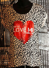 "Black and White Animal Print T Shirt-Red Heart ""Kiss Me  Love Me Thrill Me""- 12"