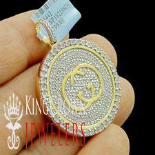 Mens Real Genuine Diamond Designer Custom Pendant Charm 10K Yellow Gold Finish