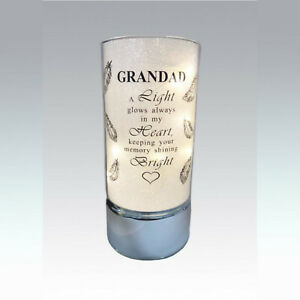Glass Memorial Tube Light - Feathers & Hearts Poem Verse