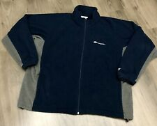 Champion Fleece Jacket Mens 2XL XXL Full Zip Spell Out Blue Lined Sweatshirt