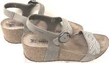 Mephisto Wedge Sandals US Size 7 Eu 37 Taupe Suede w/Rhinestones
