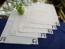 5 Antique Homespun Italian Linen Placemats Figural Needle Lace He & She Figures