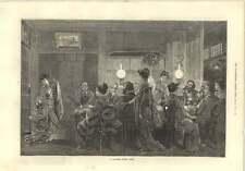 1874 una Cena Fiesta Música Baile ventiladores japonés