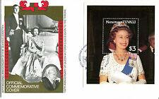 TUVALU NANUMAGA 1987 QUEEN 40th WEDDING ANNIVERSARY $3 M/SHEET FIRST DAY COVER