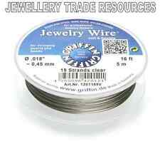 """GRIFFIN NYLON COATED STEEL BEADING & PEARL WIRE .018"""" / 0.45mm 16 FT. 19 STRAND"""