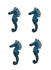 #3040 Lot 4Pcs Blue Sea Horse Embroidery Iron On Applique Patch