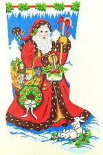 Needlepoint Handpainted Canvas LEE Christmas Stocking STROLLING SANTA 13M