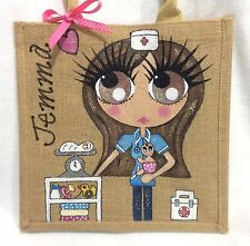 Personalised Handpainted Midwife Nurse Jute Handbag Hand Bag Gift