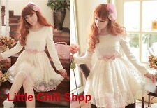 Girls Kawaii Princess Cute Sweet Dolly Gothic Lolita Lace Dress+Pink Belt White