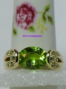 Green Diamond and Peridot (2.4ct Solitaire)14K Ring