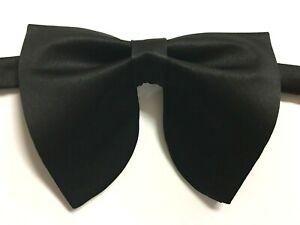 NEW Oversized Black Satin Bow tie Vintage style 70`s Wedding Prom