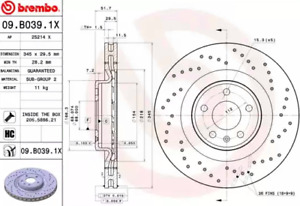 Brembo Extra 09.b039.1X Front Single Brake Disc AUDI A4 A5 Q5
