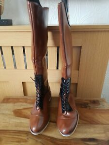 Women Knee High boots Lace UK SIZE 6 EUR 39 Brown / Black