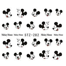 NAIL Art Water Trasferimenti Adesivi decalcomanie NERO MICKEY MOUSE KAWAII (stz282)