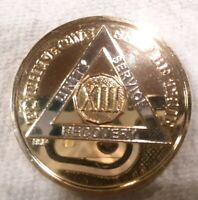 13 YEAR AA GOLD/SILVER Tone Bi-Plated Alcoholics Anonymous CHIP COIN MEDALLION