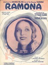 Ramona Waltz Song Sheet Music Piano Voice Guitar Ukulele 1927 Dolores Del Rio