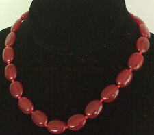 "New 13x18mm Red Ruby Jade Gemstones Oval Beads Necklace 18"" AAA"