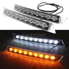 2pcs 9 LED Car DRL Driving Daytime Running Lamp White &Amber Turn Signal Light