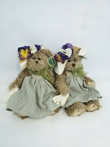 "2 ""Judy Gardening"" Bearington Bear Collection Teddy Bears Spring Plush"