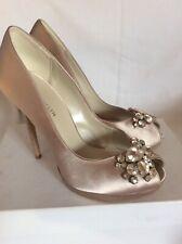 KAREN MILLEN Champagne SATIN & DIAMANTE Peep Toe HIGH HEEL Shoes SIZE 7 New