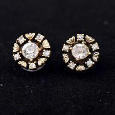 Petite Vintage Style Zircon Bronze Metal& Crystal Cluster Stud Earrings