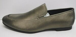 Calvin Klein Size 11.5 Bronze Smoke Leather Loafers New Mens Shoes