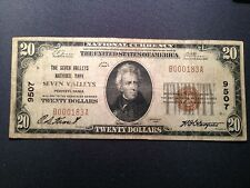 New listing 1929 T-1 $20 The Seven Valleys National Bank Pa Rare York County