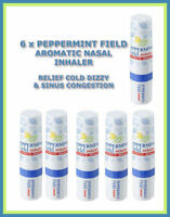 6 x PEPPERMINT FIELD AROMATIC NASAL INHALER RELIEF COLD DIZZY + SINUS CONGESTION