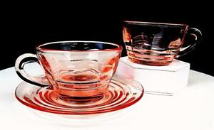 "PADEN CITY #191 PARTY LINE 3 PC PINK BLOCK OPTIC 2 1/8"" CUPS AND SAUCER 1928"