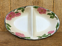 Vintage Franciscan Desert Rose Pottery Divided Serving Bowl Pink Roses Wonderful