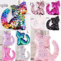 Cat Keyring Sequin Flip Sparkle Reversible Bag Charm Chain Ring Sparkly Girls UK