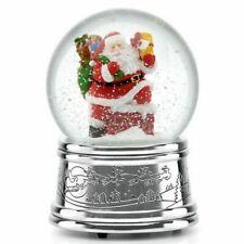 """Reed & Barton Rooftop Santa Snowglobe 5.5"""" ~ Christmas Musical ~ 875197 ~ NIB"""