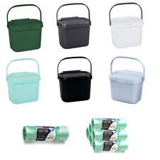 Addis Plastic Food Waste Compost Caddy Worktop Kitchen Vegetable Holder Liners