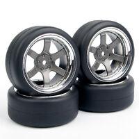 4X 1:10 Tires&Wheel PP0038+PP0338 For HSP HPI RC Drift Car 6mm Offset Set