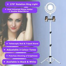 NEWAVE Polarless Dimmable Rotatable 12'' LED Ring Light Dual Mirror Tripod Stand