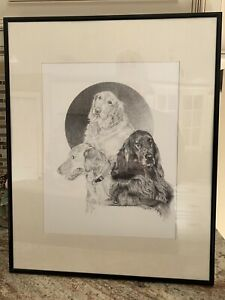 Artist Signed Pencil/Graphite Drawing Irish Setter Dogs Herb Jordan - Framed