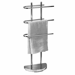 3 Arm 3 Tier Free Standing Chrome Towel Holder Rail Rack Stand Weighted Base