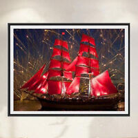 DIY Diamond Painting Colorful Flower Sailboat Mosaic Cross Stitch Embroidery WE