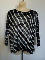 New STYLE&CO Women's Plus Size 0X Top T-Shirt Striped Black White Long Sleeve