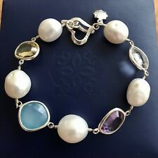 Dower And Hall Sterling Silver Bracelet Faceted Gemstones & White Pearl RRP£195