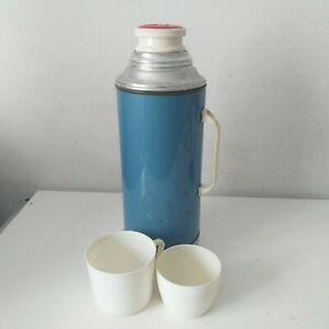 Vintage VACCO Screw-on England Metal Thermos Flask 29cm Prop