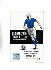 HUDDERSFIELD TOWN V NORWICH CITY 13/04/1968 DIVISION 2 (b)