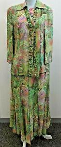 Catherina Hepfer Ladies Bright Green Pattern Skirt And Matching Blouse UK 16