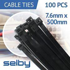 100pcs Cable Ties Zip Ties Black 7.6mm X 500mm Strong Nylon UV Stabilised