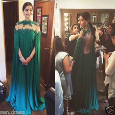 Green Long Dubai Kaftan Saudi Arabic Evening Dress High Neck Formal Party Gowns
