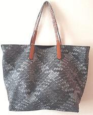 3 in 1 Women's Ladies Grey Faux Large Woven Handbag Bag