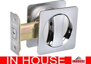Cavity Sliding door Lock flush pull handle Privacy function Chrome finish sq