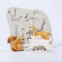 3D Rabbit Squirrel Shape Silicone Fondant Mould Cake Soap Animals Cutter Molds
